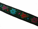 Colorful floral jacquard ribbon trim 5/8 wide
