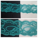 1 yard dark aqua double scalloepd embrodiered tulle trim 2 inch wide.