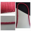 1 yard fuchsia with gold round cotton twisted cord string 1/4 inch wide.