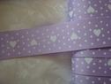Grosgarin polyester single heart dot ribbon 1  W