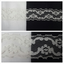 1 yard ivory double scalloped embroidered floral lace trim 1 1/2 inch wide.L6-9