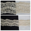 1 yard ivory double scalloped embroidered tulle trim 1 13/16 inch wide.