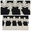 1 yard ivory double scalloped fringe with tassel design venice trim 5 3/4 inches long,