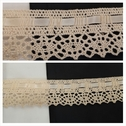 1 yard ivory insert crochet clunny trim with satin ribbon 1 1/2 inches wide.