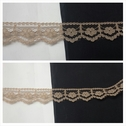 Light brown narrow scalloped floral design lace trim 1/2 inches wide. L1-5