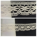 Natural double scalloped floral design poly lace trim 1 9/16.