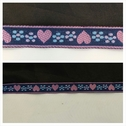 Navy blue pink lilac blue HEART design jacquard ribbon trim 1/2 inch wide.