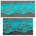 1 yard of aqua green tulle embroiered trim 1 3/4 inch wide.