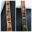 1 yard of beige jacquard ribbon trim with floral design 3/8 inch