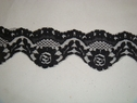 1 yard of black double scalloped floral lace trim. 1 7/8 W L3-9