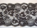 1 yard of black double scalloped floral wide  lace trim 5 W L8-7