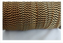 1 yard of gold with black chevron fold over elastic trim 5/8 inches wide.
