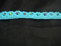 1 yard of turquoise cotton crochet one side scalloped trim 1 inch
