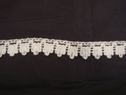 White crochet edge lace trim. 5/8 W, 500L