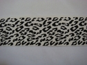1 yard off white and Black animal print stretchy ribbon trim, 1 3/4w,  Shelf 300