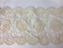 ivory Cotton Venice Double Scalloped Lace Trim Rose Design 7 1/2 inch