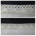 Off white double scalloped crochet clunny trim 1 3/8 inches wide.