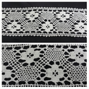 1 yard off white embroiered flower design crochet clunny trim 2 3/4 inch wide.