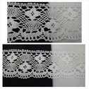 Off white scalloped floral design crochet clunny lace trim 3 inch wide.