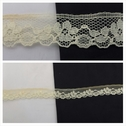 1 yard pale yellow scalloped with floral design lace trim 11/16 inches wide. L6-4