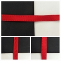 Red stitched emboss bra strap trim 3/8 inches wide.