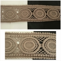 1 yard taupe dotted and circular design venice trim  2 1/2 inch wide.