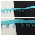 1 yard turquoise satin ribbon beaded fringe trim with pale blue beads 7/8 inches long.