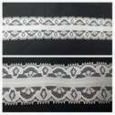 White double scalloped embroidered floral lace trim 1 3/8 inches wide. L6-8