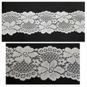 1 yard white double scalloped floral design stretch lace trim 2 1/2 inches wide.  S5-7