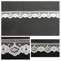 White scalloped floral NARROW EDGE lace trim 9/16 inch wide. L 6-5