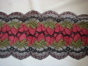 Red green & black strawberry design STRETCH  lace 6 1/2 inch wide 200-3