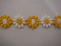 1 yd small Venice daisy white yellow lace trim 1/2 w