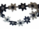 Venice daisy white navy blue lace trim 7/8  w