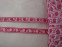1 yard Jacquard ribbon fuchsia flower white background