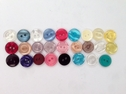 12 Buttons Clear Teal Sky Fuchsia Turquoise Off White Eyecat Yellow 12 mm