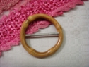 1pc Wooden Light Brown Circle Buckle