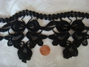 1y Black bow design Venise lace trim
