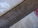 1Y Black Delicate Gold Embroidered Elastic Trim 1 1/4 W