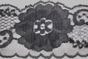 1Y Black floral design scalloped lace trim 2 1/2 W