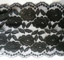 1Y Black Floral Double Scalloped Stretch Wide  Lace Trim 6 W S6-1-140