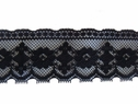 1Y Black Floral Poly  Lace Trim 2 1/8 W L6-3