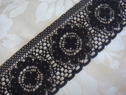 1Y Black Scalloped Delicate Lace Trim 2 W