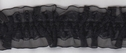 1Y Black Stretch Ruffled Elastic Floral Double Organza Lace Trim 1 3/8 W