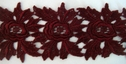 1Y Burgundy Floral Scalloped Venice Lace Trim 2 1/2'W