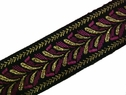 1y gold black fuchsia jacquard ribbon 15/16 inch wide