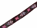 1y hot pink light pink floral black jacquard ribbon 1/2 inch wide