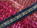 1y navy blue gold off white diamond stripe jacquard ribbon 1/2 inch wide