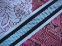 1Y Nylon Mesh Striped Ribbon Trim-- Baby Blue, Black and White Stripes 1 1/2 inch