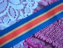 Nylon Striped Ribbon Trim w/ Yellow, Orange and Blue Stripes 1 inch wide