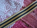 1Y Nylon Woven Striped Ribbon Trim- Shiny Gold, Off White, and Navy Blue Stripes 1 inch wide